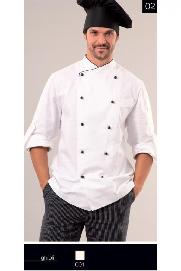 Cappello Cuoco Alto, Giacca Cuoco Virgilio e Pantalone Cuoco riga fina